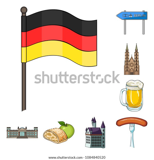 Country Germany cartoon icons in set collection for design. Germany and landmark vector symbol stock web illustration.