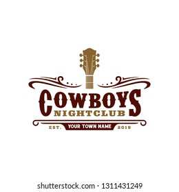 Country Guitar Music Western Vintage Retro Saloon Bar Cowboy logo design