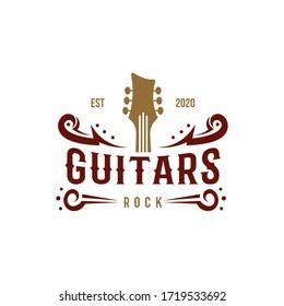 Country Guitar Music Western Vintage Retro Saloon Bar Cowboy logo design