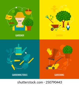Country hobby gardener tools and accessories  4 flat icons of lawn mower composition abstract isolated vector illustration