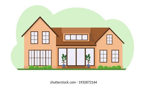 Country house in the afternoon with an attic with flowers. A house with a pitched roof on a green background. Flat design