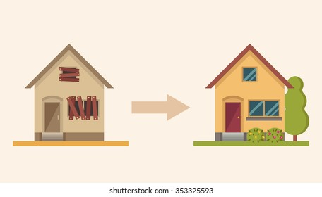 Country House Before and After Repair. Colorful Vector Illustration