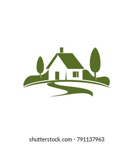 Country house or green home icon for real estate agency or ecology home concept. Vector isolated symbol of farm house in green forest or woodlands park for landscape designing company