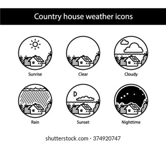 Country house round weather icons, black and white.