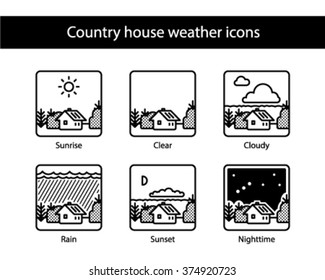 Country house square weather icons, black and white.