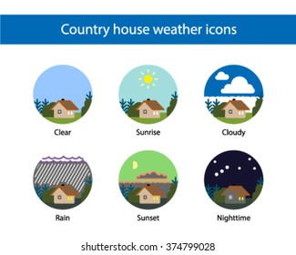 Country house weather round icon set, colored.