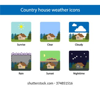 Country house weather square icon, colored.
