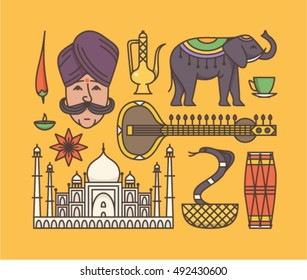 Country India, indian culture, vector outline illustration, icon set: pepper, elephant, man, candle, sitar, tea, lotus flower, palace Taj Mahal, cobra, drum