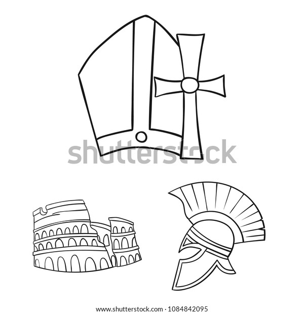 Country Italy outline icons in set collection for design. Italy and landmark vector symbol stock web illustration.