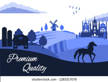 CoUntry Landscape. Farming. Summer Rural landscape. Castle, Horse, green hills, fields, trees on a blue sky background. Flat style vector illustration