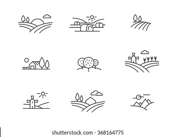 Country landscape icons, thin line style