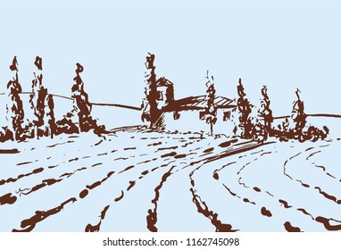 Country landscape. Scetch hand drawn artwork. Toscana Village landscape.
