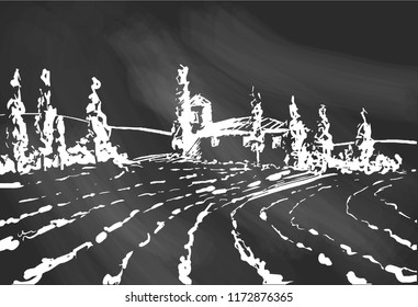 Country landscape. Scetch hand drawn artwork. Toscana Village landscape on black background