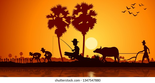 country life of Asia boy fishing while farmer plant rice and another plow field by buffalo on sunrise time,silhouette style,vector illustration