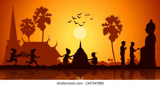 country life of Asia children play water and build sand pagoda while couple pour water to Buddha sculpture on sunrise time,silhouette style,vector illustration