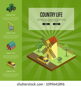 Country life banner with isometric old windmill in rural landscape. Agricultural constructions and machinery, traditional agrobusiness, natural farming, countryside eco products vector illustration.
