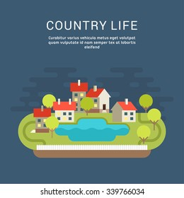 Country Life. Flat Style Vector Conceptual Illustration for Web Banners or Promotional Materials