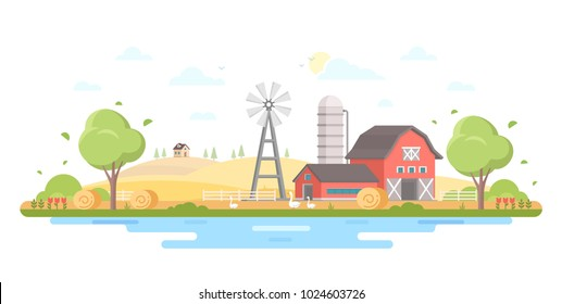 Country life - modern flat design style vector illustration on white background. A composition with a village, a lovely house, barn, trees, pond, windmill, silage tower, farm animals, haystacks