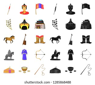 Country Mongolia cartoon,black icons in set collection for design.Territory and landmark vector symbol stock web illustration.
