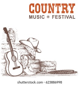 Country music background with guitar and american cowboy shoes and western hat.Vector hand draw illustration for text