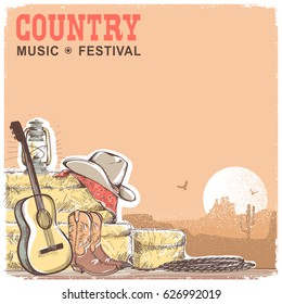 Country music background with guitar and american cowboy equipment.Vector hand draw illustration with text