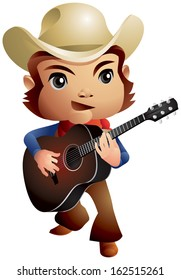 Country Music Cowboy Guitar Player, a cowboy strumming a guitar, Wild West Spirit song, cartoon style vector illustration