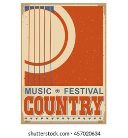 Country music festival background with acoustic guitar.Vector poster illustration for text