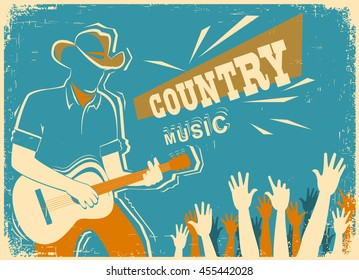 Country music festival background with musician playing guitar.Vector old vintage poster illustration