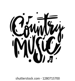 Country music Festival hand drawn vector lettering sing. Isolated on white background.