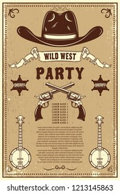 Country music festival poster template. Cowboy hat with crossed revolvers. Wild West theme. Design element for poster, card, banner, flyer. Vector illustration