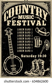 Country music festival poster template. Cowboy hat, boots, banjo. Vector illustration