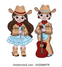 COUNTRY MUSIC FRIENDS Cowboy Western Vector Illustration Set
