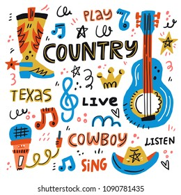 Country music handdrawn illustration for postcards or festival banners. Vector concept.