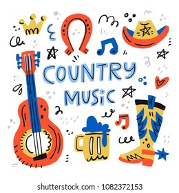 Country music handdrawn illustrations for postcards - vector concept.