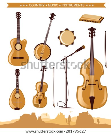 Country Music Instruments Vector Illustration Symbol Isolated Stock