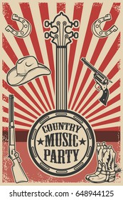 Country music party poster template. Vintage banjo on grunge background. Cowboy hat and boots, revolver, rifle. Vector illustration