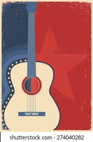 Country music poster with guitar on old paper texture