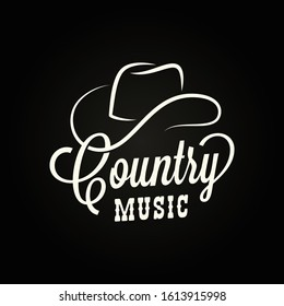 Country music sign. Cowboy hat with country music lettering on black background