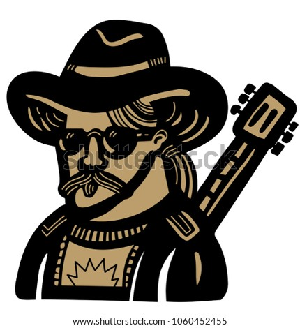 44364f6a6e713 Country Musician Cowboy Hat Guitar Stock Vector (Royalty Free ...