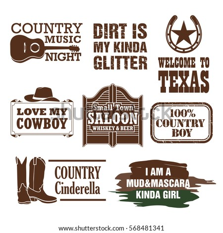 Country Quotes Design Elements Stock Vector Royalty Free 568481341