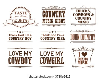 Country quotes, strokes editable