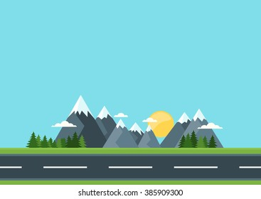 Country road in green field and mountains. Rural street flat style illustration. Summer or spring landscape. Vector flat background with space for text.