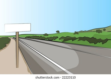 Country road with signal, mountains in the background - vector illustration