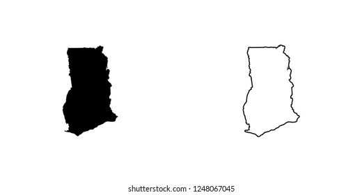 A Country Shape Illustration of Ghana Ghana