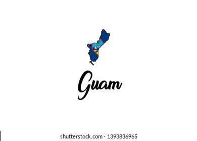 A Country Shape Illustration of Guam