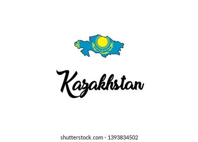 A Country Shape Illustration of Kazakhstan
