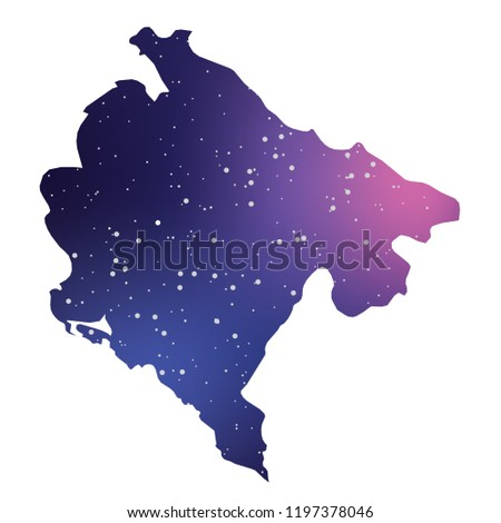 A Country Shape Illustration of Montenegro