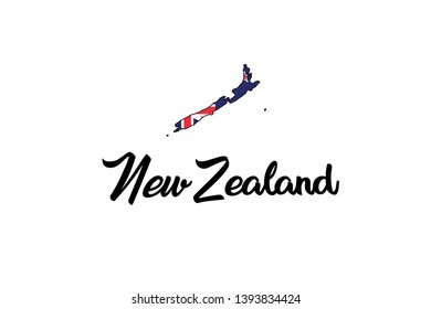 A Country Shape Illustration of New Zealand