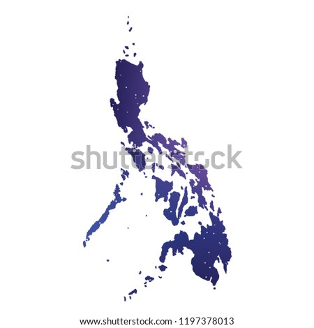 A Country Shape Illustration of Philippines