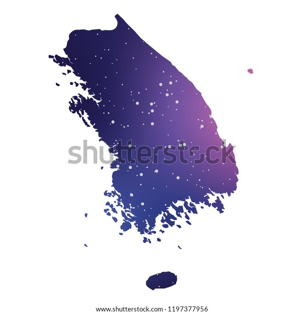 A Country Shape Illustration of South Korea